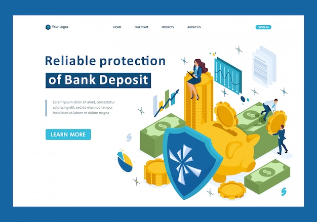 Isometric reliable protection of your money, bank deposit, security landing page