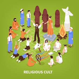 Isometric religious cult background