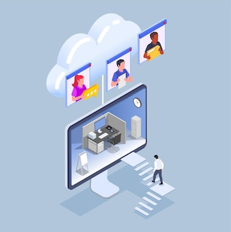 Isometric remote work and management illustration