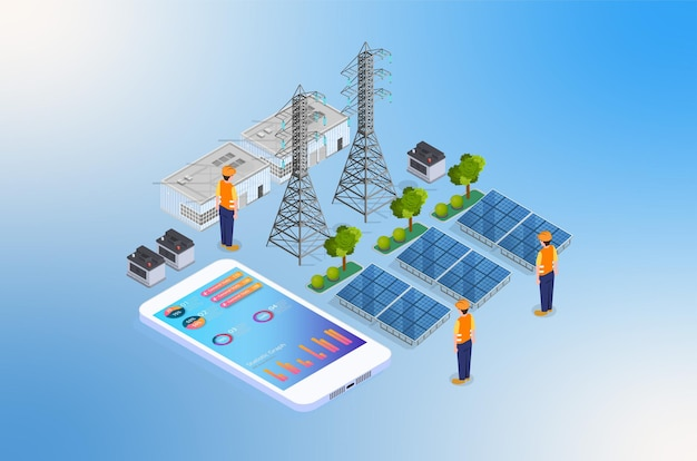 Изометрические возобновляемые источники энергии иллюстрация