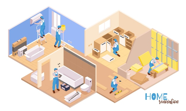 Isometric repairs composition with text and set of apartment rooms and workers performing various decoration works