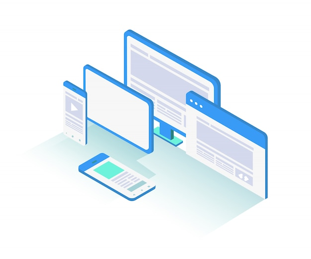 Isometric responsive laptop, tablet, and phone device object illustration