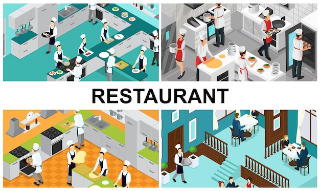 Isometric restaurant cooking composition with chefs assistants preparing different dishes interior elements utensils waiter visitors eating at tables in hall
