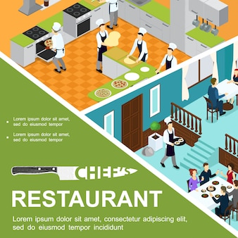 Isometric restaurant cooking composition with cooks preparing pizza in kitchen waiter and visitors eating at tables