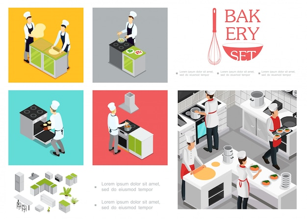 Isometric restaurant cooking template with chefs in uniform preparing different dishes kitchen interior elements utensil