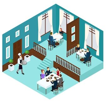Isometric restaurant dining room