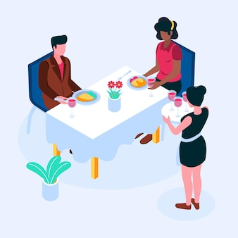 Isometric restaurant illustration