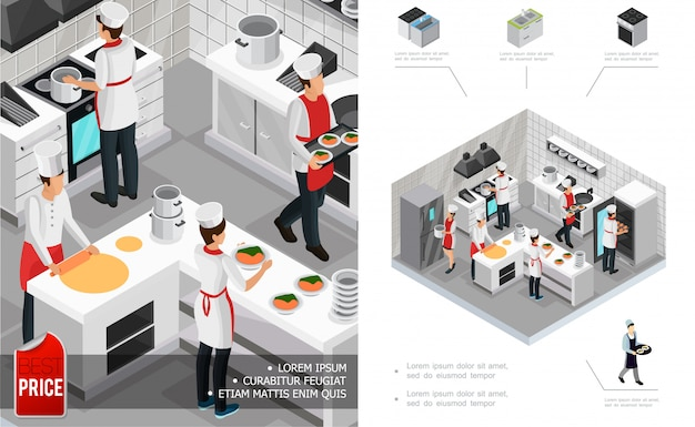 Isometric restaurant kitchen interior composition with chefs cooking dishes furniture stove fridge and utensil