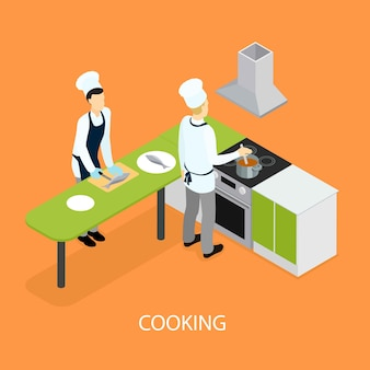 Isometric restaurant people cooking