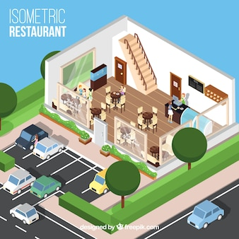 Isometric restaurant's dinning room and parking lot