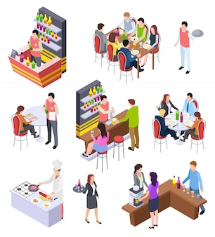 Isometric restaurant scene set