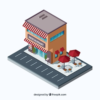 Isometric restaurant with parking lot and terrace