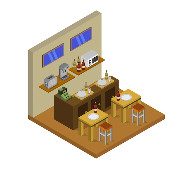 Isometric restaurant with tables