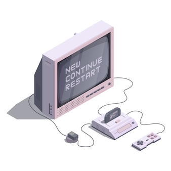 Isometric retro console with tv