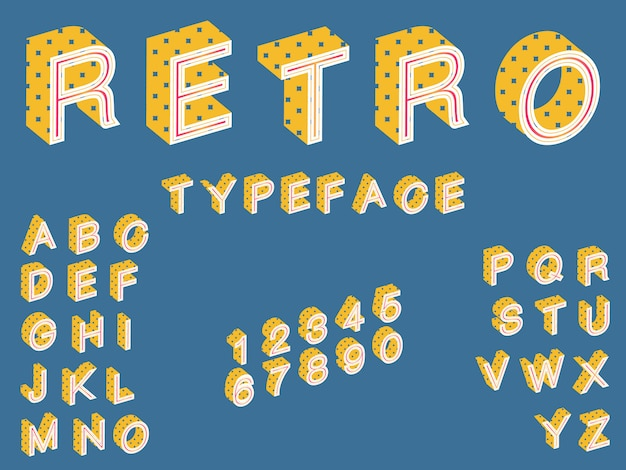 Isometric retro typeface, font in vintage style perfect for posters