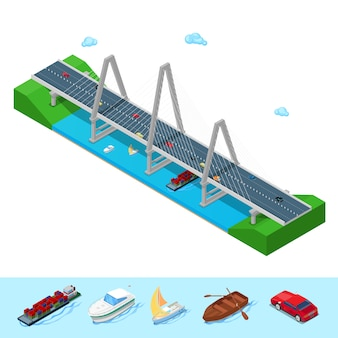 Isometric river bridge with ship boat highway and cars.