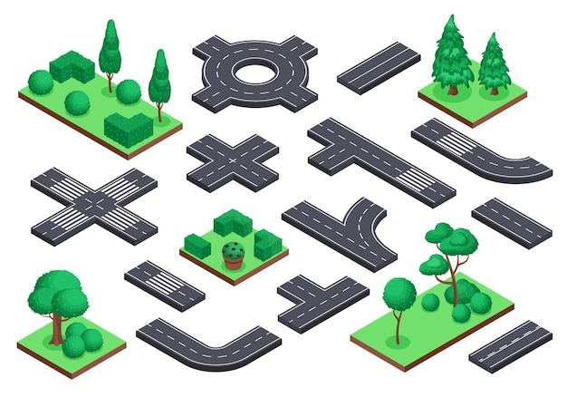 等尺性道路と自然要素アスファルト通り環状道路交差点。木の茂みの都市地図