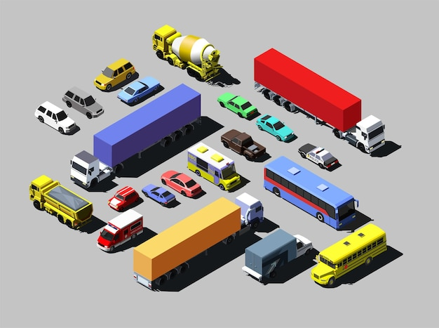 Isometric road cars, trucks and other vehicles.
