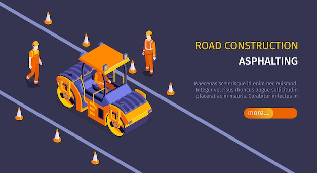 Isometric road construction horizontal banner with editable text slider more button and roller vehicle with workers  illustration