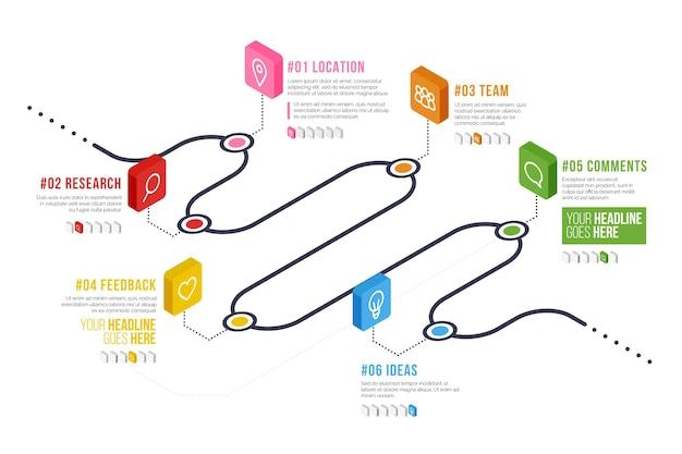Инфографический шаблон изометрической дорожной карты