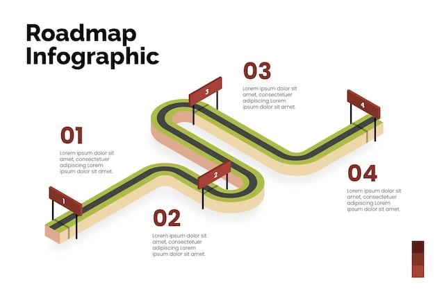 等尺性ロードマップインフォグラフィックテンプレート