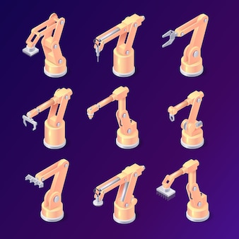 Isometric robot arms, factory machines or hydraulic robotic hands of various design and purposes
