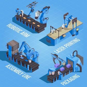 Composizione di automazione robot isometrica con linea di assemblaggio per stampa laser a braccio robotico e descrizioni di confezionamento