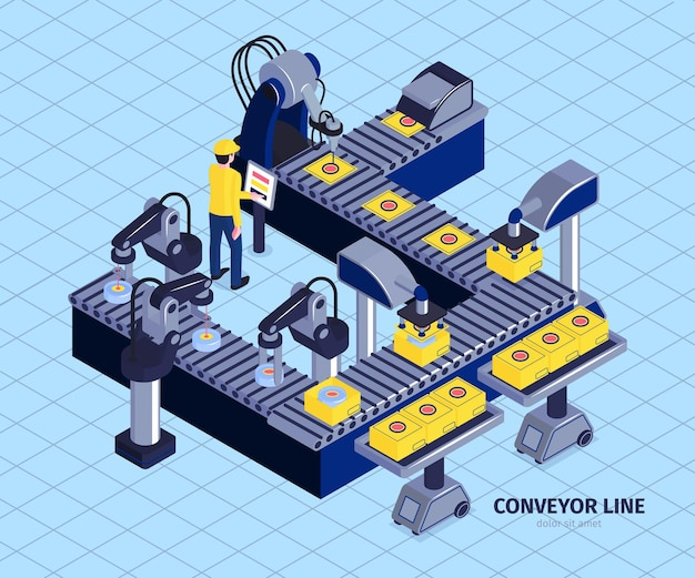 Isometric robot automation conveyor factory composition with image of automated assembly line with robotic arm manipulators  illustration