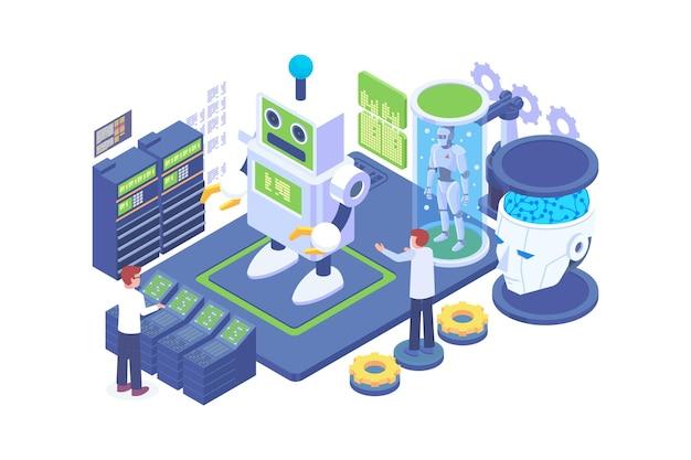 Isometric robot development technology concept