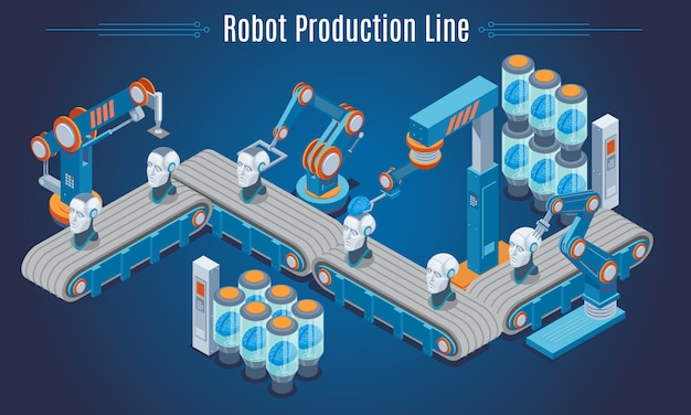 Isometric robot production line template with industrial robotic arms creating cyborg heads isolated