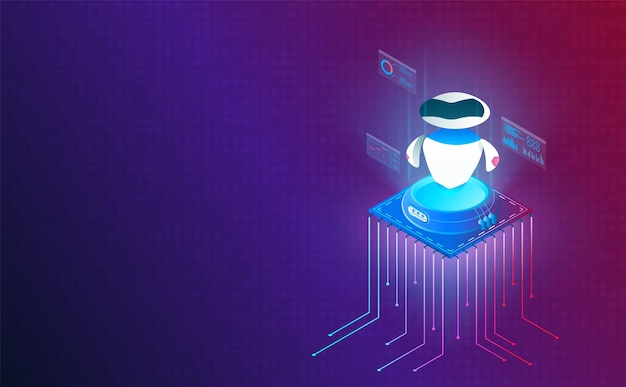 Isometric robotic on processor chip on system grid background vector and illustration