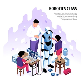 Isometric robotics kids education illustration composition with editable text and children with adult character building android