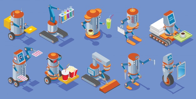 Isometric robots collection with postman medical bar courier hotel service cinema cleaner builder housework mechanical robotic assistants isolated