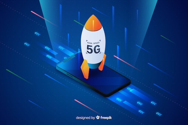 Isometric rocket 5g concept background