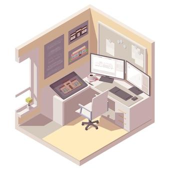 Изометрическое поперечное сечение комнаты со столом, компьютером, графическим планшетом и офисным стулом