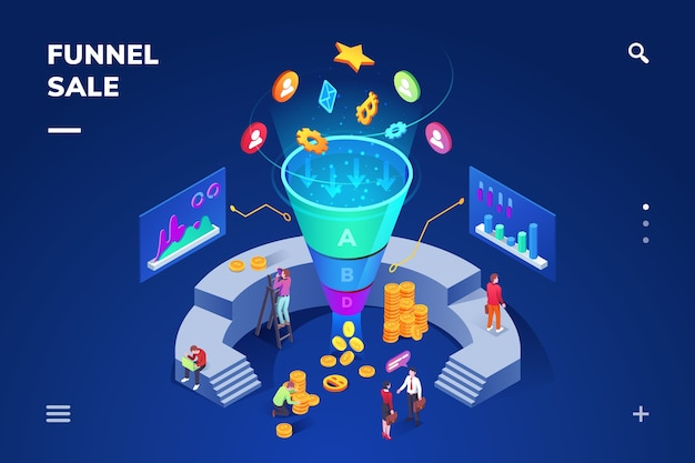 Isometric room with cone sale funnel generating sales