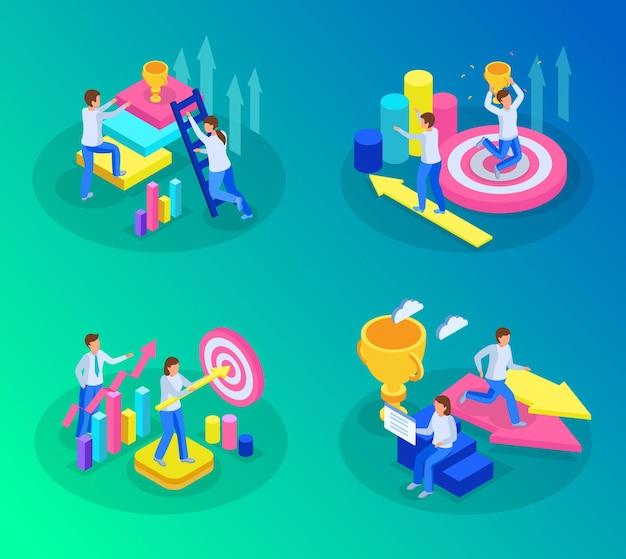 Isometric run to goal ambition illustration
