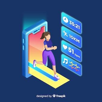 Isometric running mobile app infographic