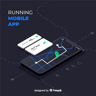 Isometric running mobile app infographic