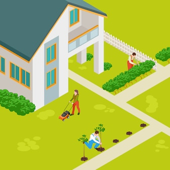 Isometric rural house and gardeners  concept