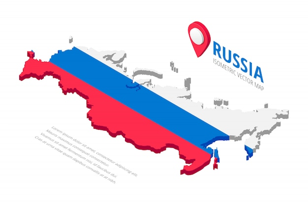 Isometric russia map icon with text and pin isolated on white background. 3d concept silhouette in colors of russian flag white, blue,red. illustration