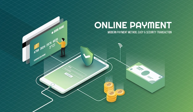 Isometric safe and security online payment background
