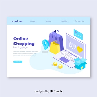 Isometric sale landing page template