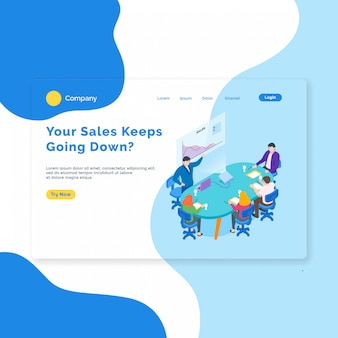 Isometric sales meeting landing page template