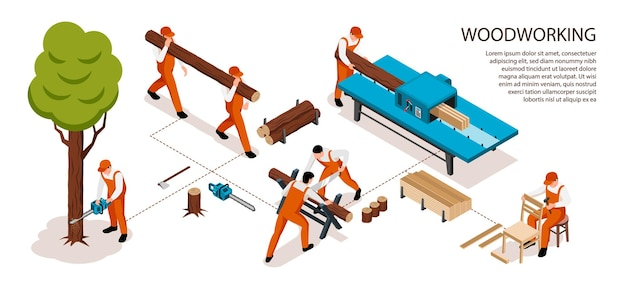 Isometric sawmill woodworking horizontal infographics with editable text and flowchart composition of workers during work process