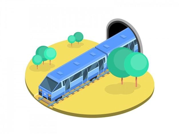 Isometric scene with the train