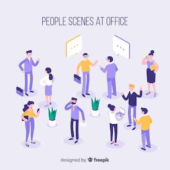 Isometric scenes at the office collection