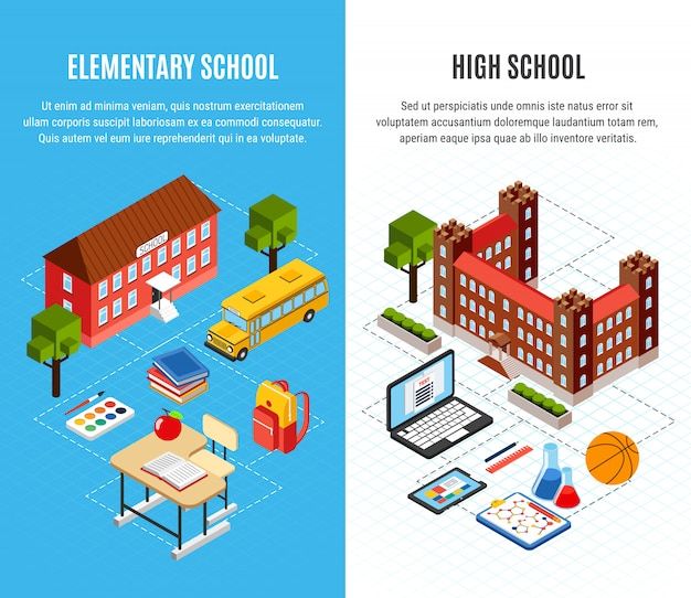 Isometric school building banner set
