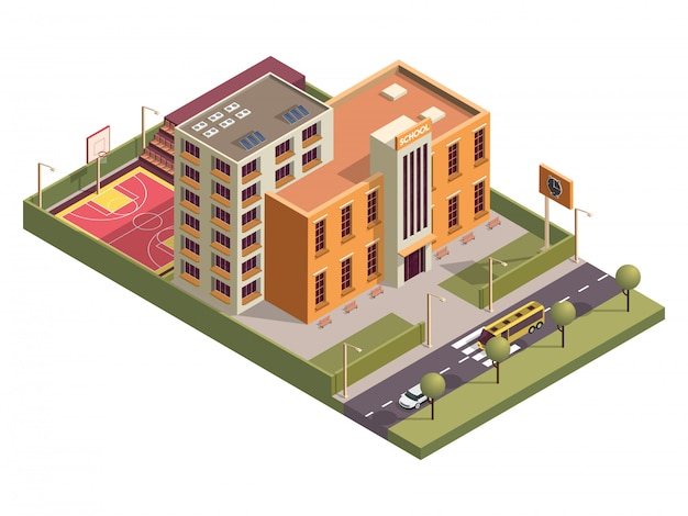Isometric school building with basketball ground along vehicle street .