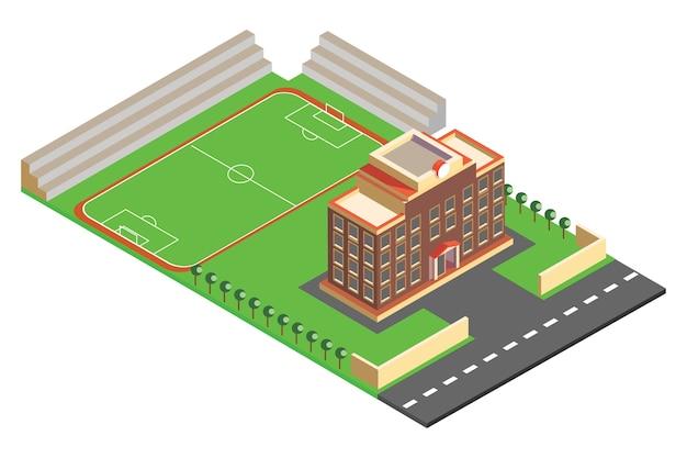 Изометрические школьные здания и спортивные площадки